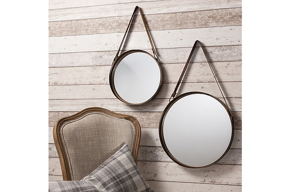 Marston Mirrors With Leather Hanging Strap (Set Of 2)