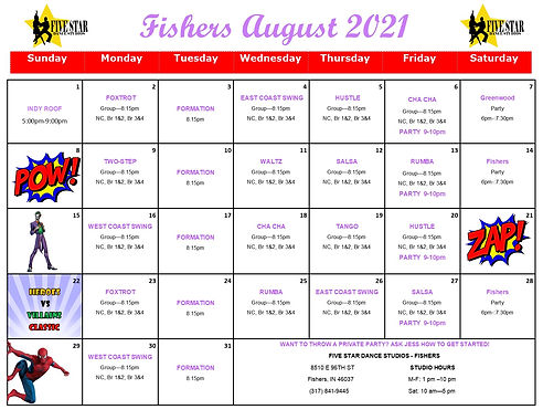 Fishers August Calendar