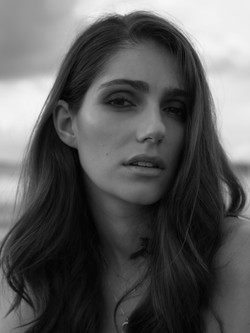 Black and white photo of model close up