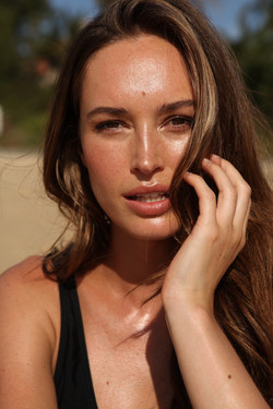 Model close up beach photoshoot