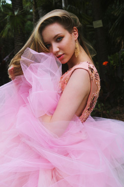 Model photoshoot wearing couture dress in Botanical Gardens