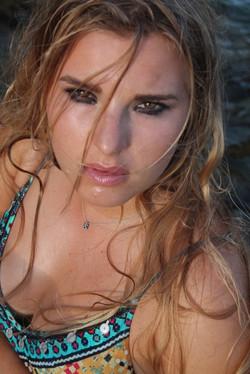 Model Alina close up photoshoot with black smudged smokey eye makeup