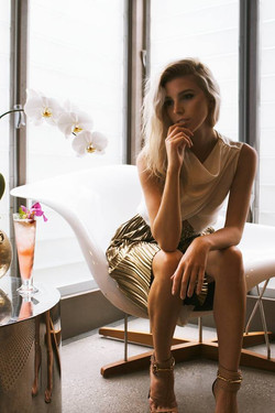 Model Nicole posing inside Manly Pavillion
