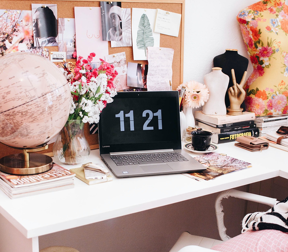 Laptop, desk setup, How to be more productive and avoid burnout