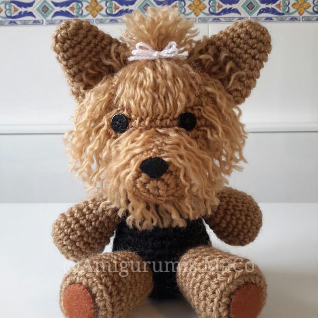 Mini Amigurumi Yorkshire-Terrier braun & schwarz. Kommt mit | Etsy | 640x640