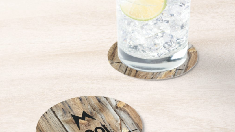 MOOi faux wood reusable coasters