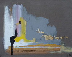 2009  Oil paint, gold on hand stretch cotton canvas.  24 × 30 × 2.5 cm