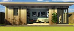 Garden room, french doors & decking