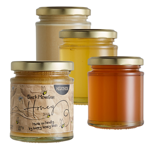 Raw Welsh Honey - Black Mountain Honey Selection - 4 x 227g
