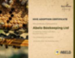 Black Mountain Honey Hive Adoption Certi