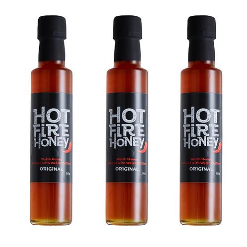 Welsh Hot Honey - Hot Fire Honey - 3 x 350g