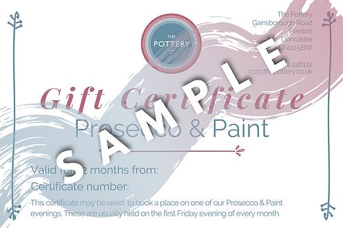 Prosecco & Paint Gift Voucher