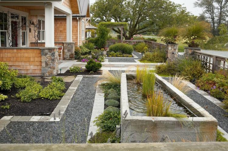 jardin-contemporain-étang-graminées-arbustes-terrasse-gravier
