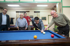 Playing some pool with locals in Madrid, 2019.