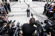 Talking to the media in Moscow, 2015