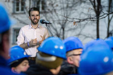 Meeting with factory workers in Warsaw, 2015