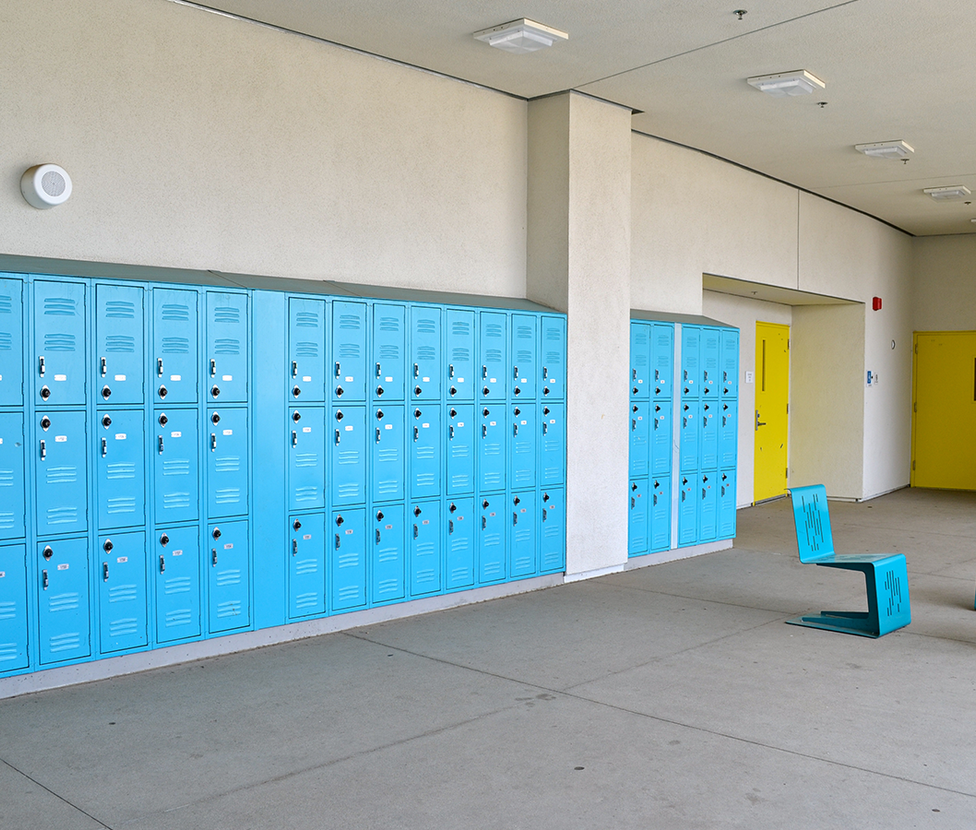 Lincoln Middle School Outdoor Hallway with Lockers