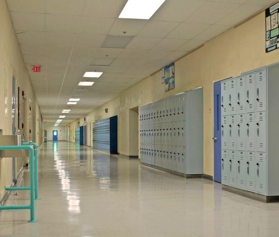 Lincoln Middle School Hallway with Lockers
