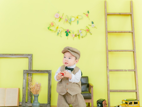 1歳のはじめてのバースデーフォトをおしゃれなスタジオで☆