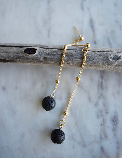 pahoehoe lava stone drop earrings diffuser aromatherapy