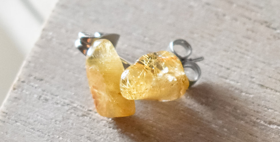 rutilated quartz surgical steel stud earrings gladstone