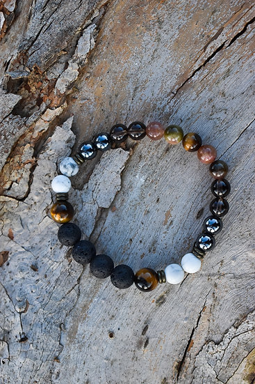 mens essential oil jewellery - hematite, howlite, tigers eye, lava