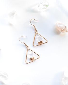 Triangle Terminate Clear Quartz Earring