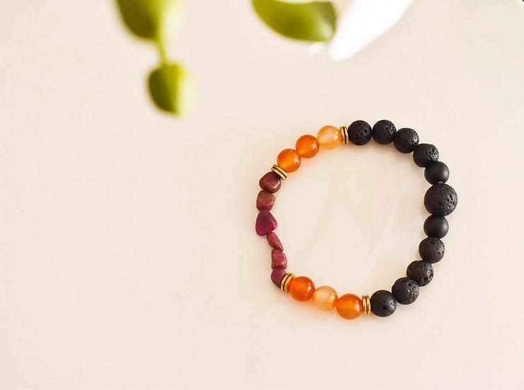 july birthstone bracelet, aromatherapy, diffuser, ruby, carnelian, lava