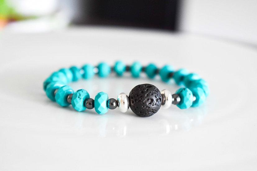 turqoise, lava and hematite diffuser bracelet