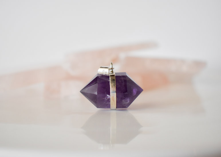amethyst double terminated pendant. sterling silver