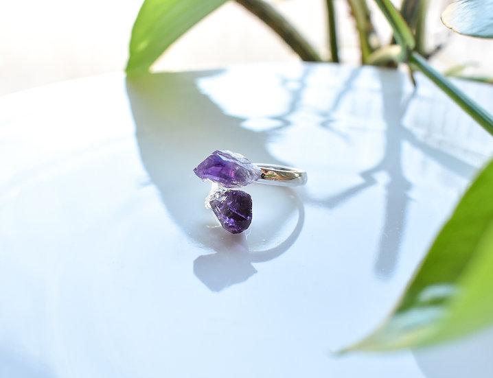 raw amethyst crystal gemstone ring silver