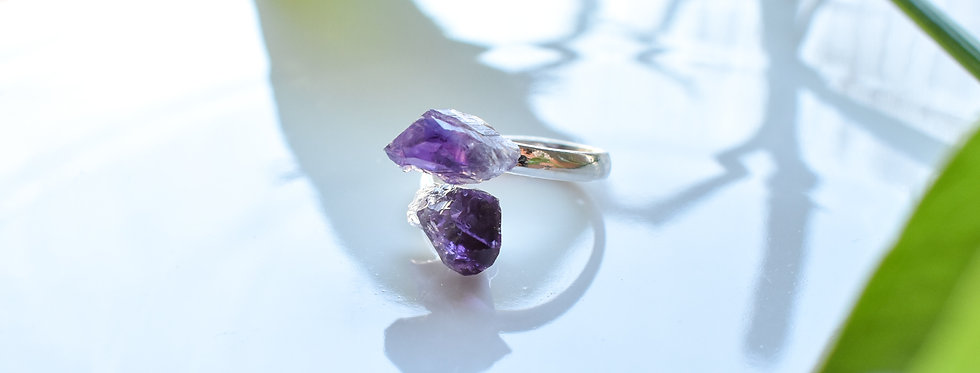 raw amethyst crystal gemstone ring silver