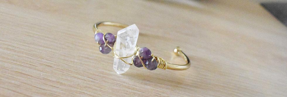 rescue - amethyst and crystal quartz point cuff
