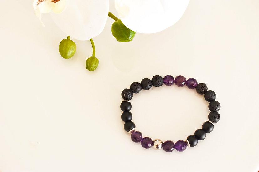 february birthstone aromatherapy bracelet, amethyst and onyx