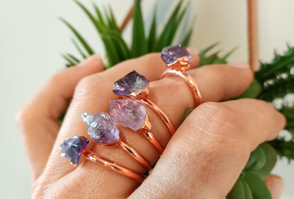 Amethyst Electroplated Copper Rings
