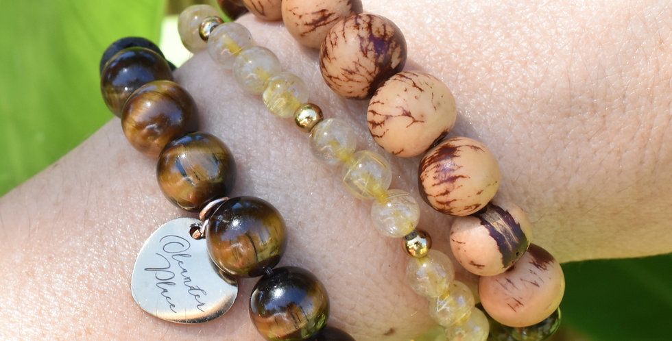 acai berry seed bracelet smokey quartz