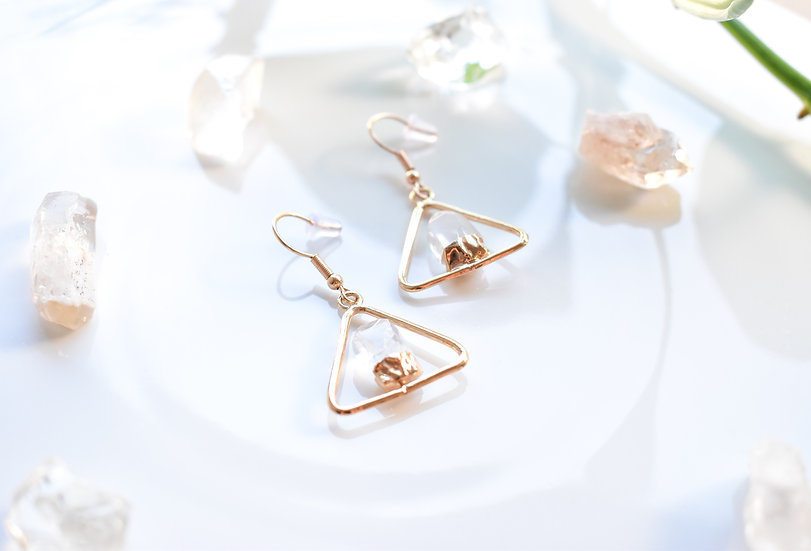 Clear Quartz Triangle Earrings - Gold
