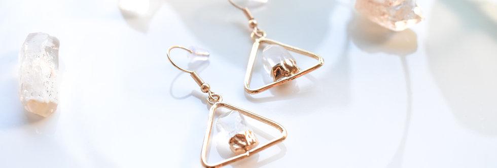 Clear Quartz Triangle Earrings - Gold