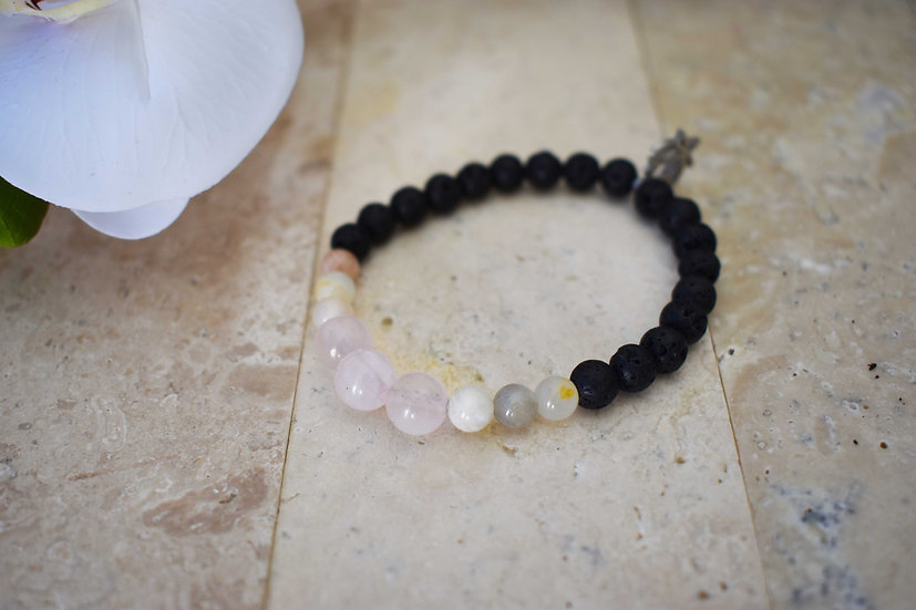 rose quartz, moonstone and lava aromatherapy essential oil bracelet semi precious