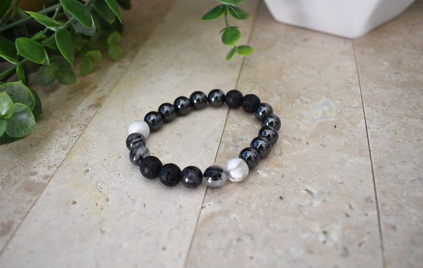 midnight warrior aromatherapy diffuser bracelet howlite, quartz, lava