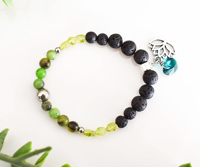 may birthstone bracelet, chrysoprase, emerald, essential oil