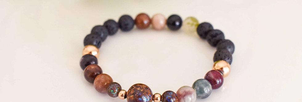 opal, tourmaline, october birthstone bracelet, aromatherapy, essential oils
