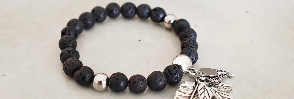 relief - lava, stainless steel aromatherapy bracelet