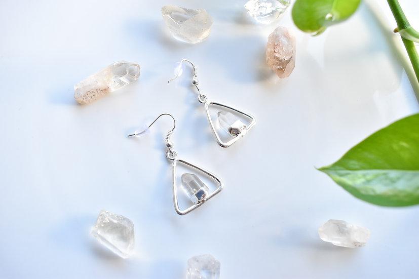 Quartz Triangle Earrings - Silver