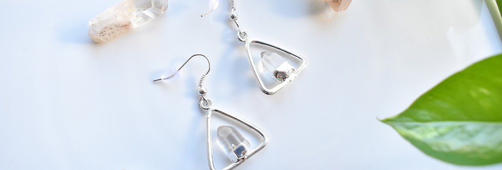 Quartz Triangle Earrings - Silver