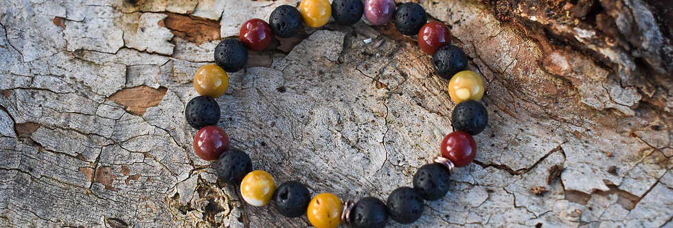 mookaite and lava aromtherapy bracelet