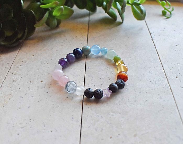 valencia aromatherapy bracelet, rainbow gemstones