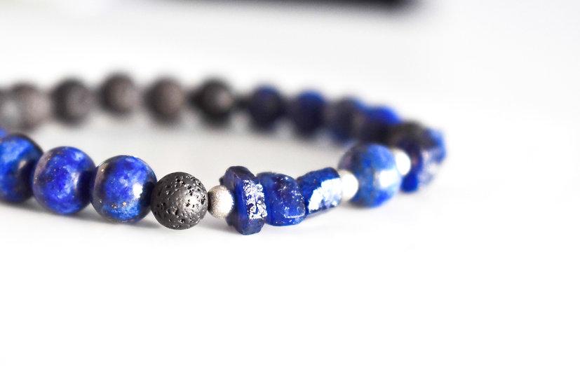 september birthstone aromatherapy bracelet, sapphire, lapis lazuli