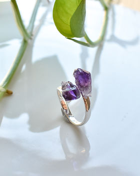 Raw Amethyst Adjustable Ring Electroplat