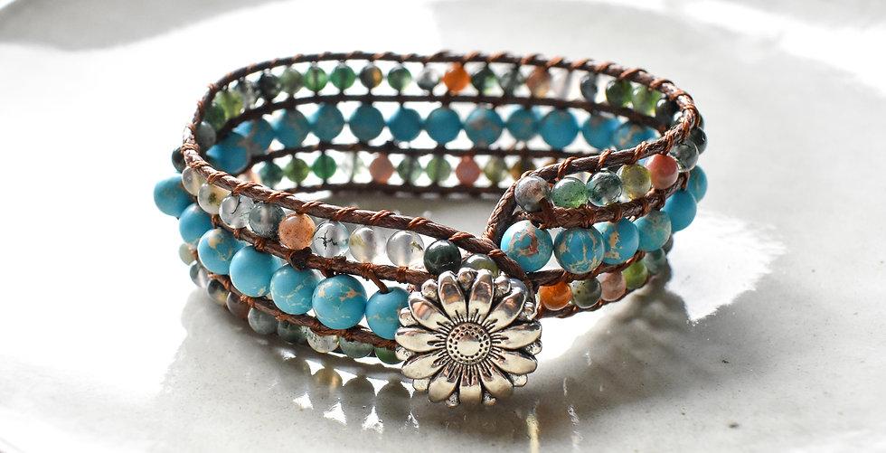 sea sediment jasper, mixed agate, three row gemstone bracelet